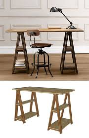 Sawhorse Trestle Desk Diy Sawhorse Desks Inspired By Restoration Hardware Apartment