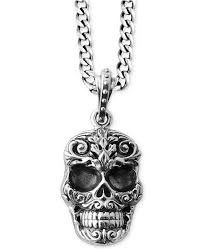 silver skull pendant necklace images King baby men 39 s carved skull pendant necklace in sterling silver tif