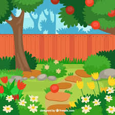 lovely flat apple tree in the garden design vector free