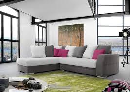 canapé angle gris blanc acheter votre canapé d angle en tissus et pieds chromé chez simeuble
