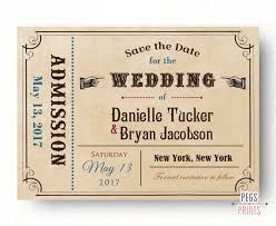vintage save the date ticket save the date card printable admit one save the date