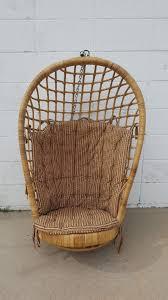 Rattan Hammock Chair Vintage Mid Century Modern Birdcage Rattan Hanging Egg Basket
