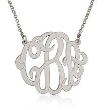 large monogram necklace large monogram necklace in silver bestmonogramnecklace