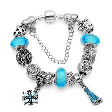 murano glass beads charm bracelet images Silver elsa princess charm bracelet bangle for female with blue jpg