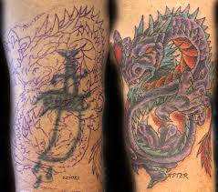 3d dragon tattoo cover up design idea for men and women