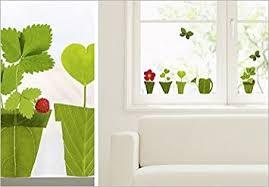 stickers fenetre cuisine stickers electrostatiques vitres fenetre pots fleurs nature