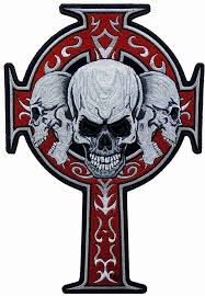 cross with 3 grey skulls patch skull back patches