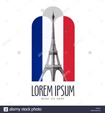 paris logo design template france or eiffel tower icon stock