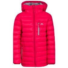 trespass morley kids down hooded jacket boys girls warm winter