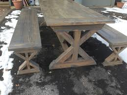 Farm House Table Ana White X Base Farmhouse Table And Benches Diy Projects