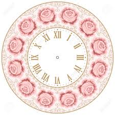 vintage clock face with hand drawn colorful roses and curly design