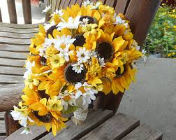 Sunflower Wedding Bouquet Sunflower Silk Bridal Bouquet Sunflower Wedding By Mtfloral