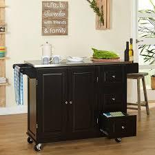 sundance kitchen cart with stainless steel top black walmart com