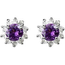 purple stud earrings shop purple fashion jewellery stud earrings halo cluster earring studs