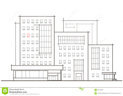 Floor Plan Front View by Linear Architectural Sketch Of Multistory Building With Red Window