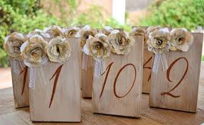 great gatsby wedding table numbers vintage book paper flowers lace
