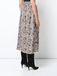 silk skirt printed floral silk skirt with side slit adam lippes