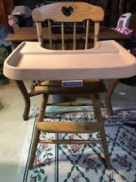 Antique Wooden High Chair Vintage Fisher Price Wooden High Chair With Tray Ebay