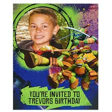 caillou birthday invitations nickelodeon teenage mutant ninja turtles personalized