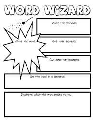 word wizard vocabulary graphic organizer vocabulary graphic