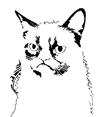 grumpy cat stencil for graffiti art pumpkin carving whiteboard