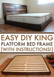 Diy Bed Platform Easy Diy Platform Bed Frame For A King Bed With