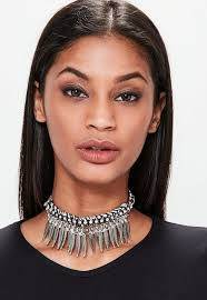 chunky chain choker necklace images Black metal statement feather chunky chain choker necklace jpg