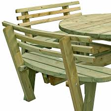 heavy duty round picnic table seat backs round table pressure treated free delivery 8 seater