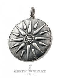 jewelry shop symbols sun of vergina pendant silver size xl