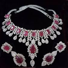 silver necklace ruby images Sterling silver bridal ruby necklace with matching earrings jpg