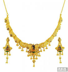 gold necklace design sets images 22k designer peacock necklace set ajns56091 22k exclusive gold jpg