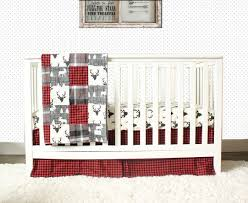 Flannel Crib Bedding Lumberjack Nursery Bedding Set Black Gray Moose Deer