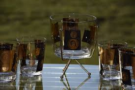 vintage cocktail set vintage cera black and gold coin flared double old fashioned