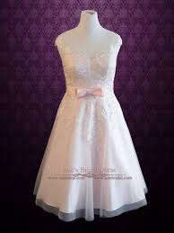 plus size frosty pink tea length lace wedding dress sabrina