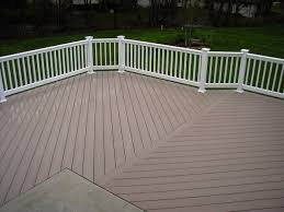 exterior design rosy brown azek decking plus white railing for