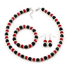 red beads bracelet images Black red bead with diamante ring necklace bracelet earrings jpg