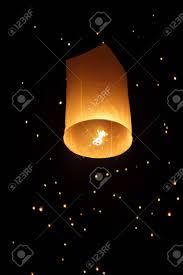 firework lantern single floating lantern during firework festival in thailand stock