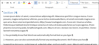 how to automatically format an existing document in word 2013
