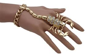 bracelet chain ring images Yellow gold women hand chain metal fashion bracelet scorpion jpg