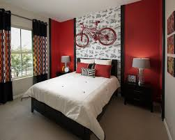 Contemporary Men Teenage Bedroom Ideas Painted In Cream And Red - Red and cream bedroom designs