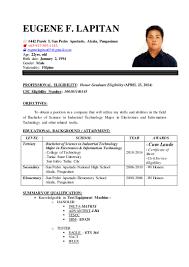 Educational Attainment Example In Resume Eugene Lapitan Resume