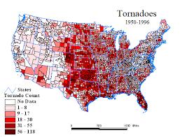 tornado map u s tornado map 1950 1996