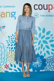 jessica alba is chic in a michael kors denim shirt and skirt w