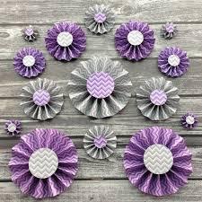Purple Decorations 15 Paper Rosettes Purple And Gray Chevron Paper Fans Party