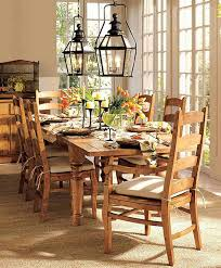 classic dining room with wooden table pendant lamp wood chair and