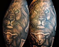 realistic lion and lamb tattoo