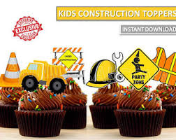 construction cake toppers construction cupcake etsy