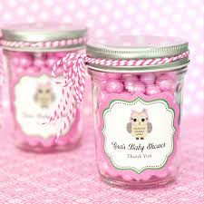Mason Jar Baby Shower Ideas Pink Owl Personalized Mini Mason Jars