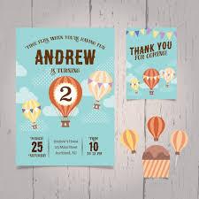 air balloon birthday invitation vector free download