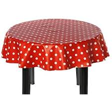easy wipe vinyl tablecloth 137cm polka design